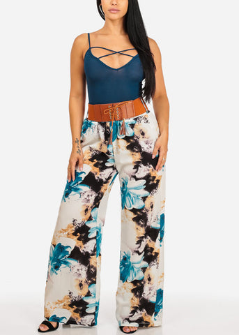 White Ultra High Waisted Floral Pants