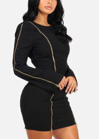 Black Zipper Mini Dress