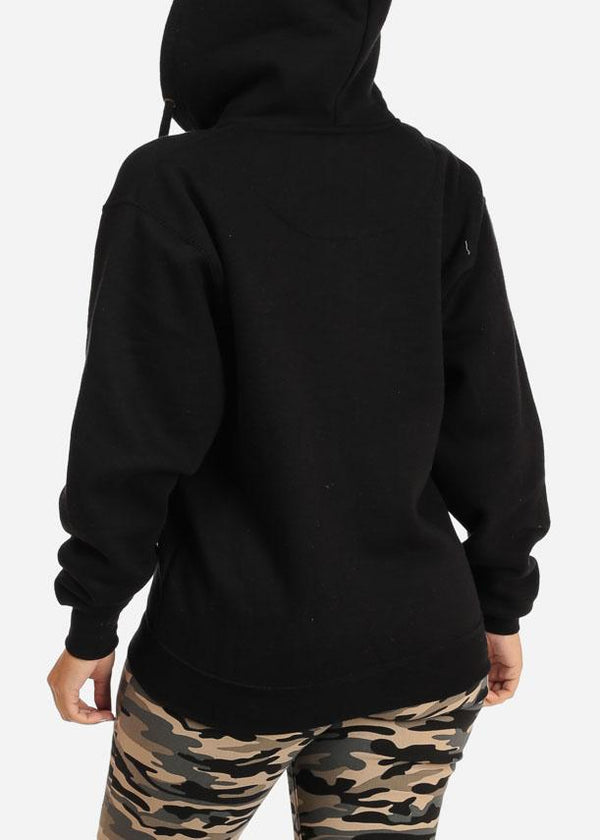 Black Zip Up Hoodie Sweatshirt