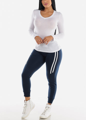 Image of White Long Sleeve Basic Top