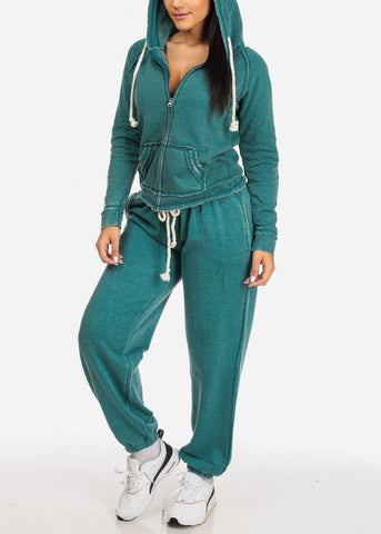 Teal Low Rise Drawstring Waist Jogger Pants
