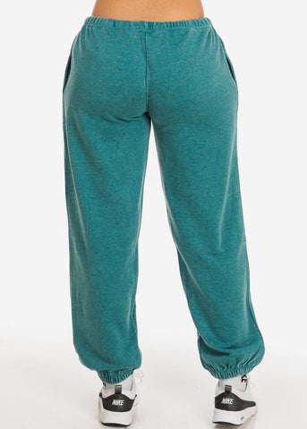 Image of Teal Low Rise Drawstring Waist Jogger Pants