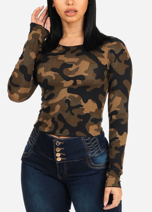 Camouflage Print Cropped Top