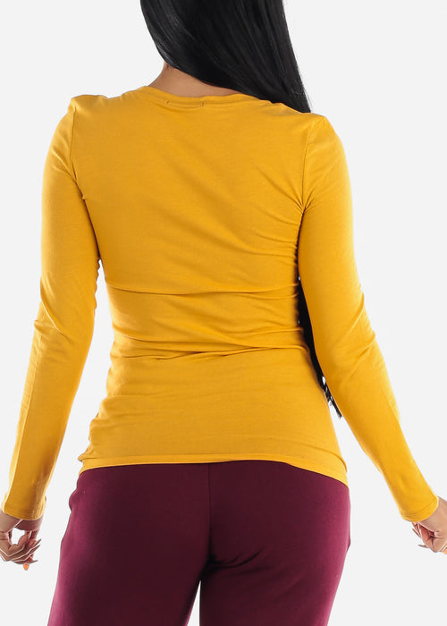 Mustard Long Sleeve Basic Top