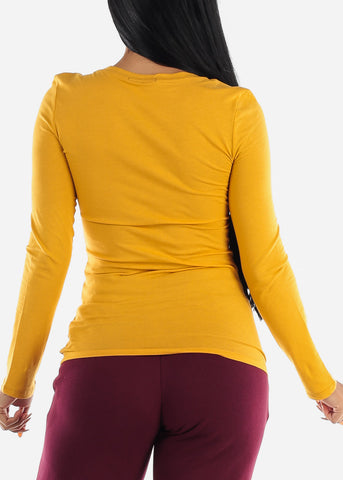 Image of Mustard Long Sleeve Basic Top