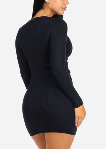 Image of Navy Lace Up Knitted Dress
