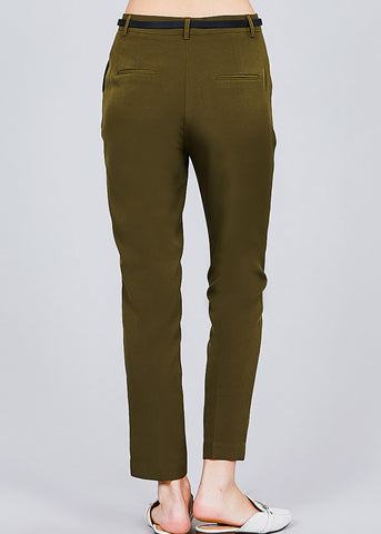 Olive Woven Dressy Pants