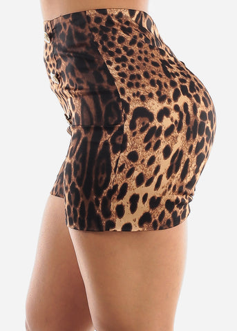 Image of Leopard Print Dressy Shorts