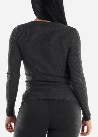 Image of V-Neck Viscose Rib Charcoal Sweater