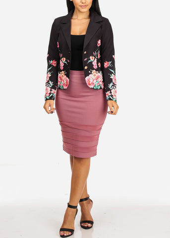 Image of Black Floral Blazer W Front Pockets
