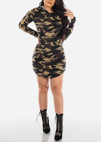 Gold Stripe Camouflage Bodycon Dress