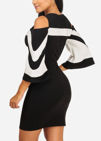 Stylish Cold Shoulder Black  Bodycon Dress