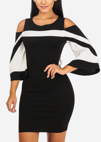 Image of Stylish Cold Shoulder Black  Bodycon Dress