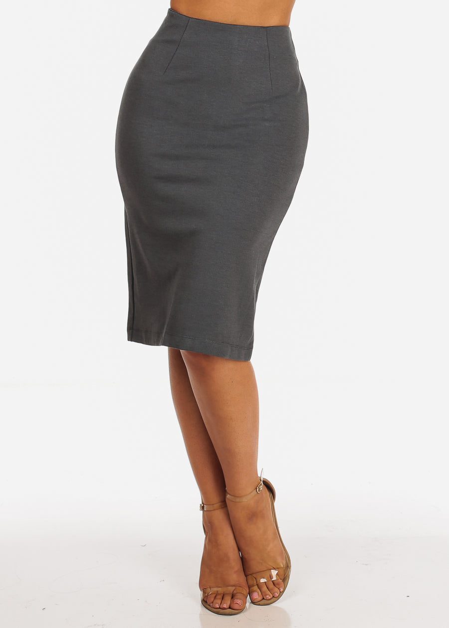 High Rise Charcoal Pencil Skirt