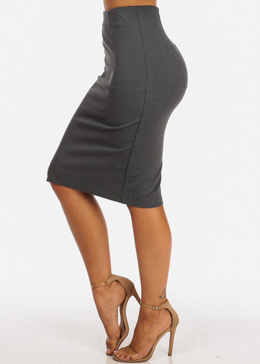 Career Wear High Rise Solid Charcoal Pencil Midi Skirt