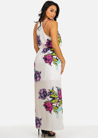 Sexy White Floral Spaghetti Strap Halter Maxi Dress For Beach Vacation Night Out