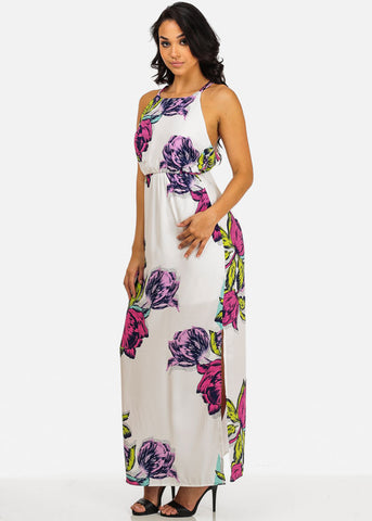 Image of Sexy White Floral Spaghetti Strap Halter Maxi Dress For Beach Vacation Night Out