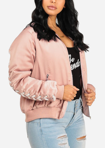 Image of Trendy Zip Up Rose Bomber Jacket