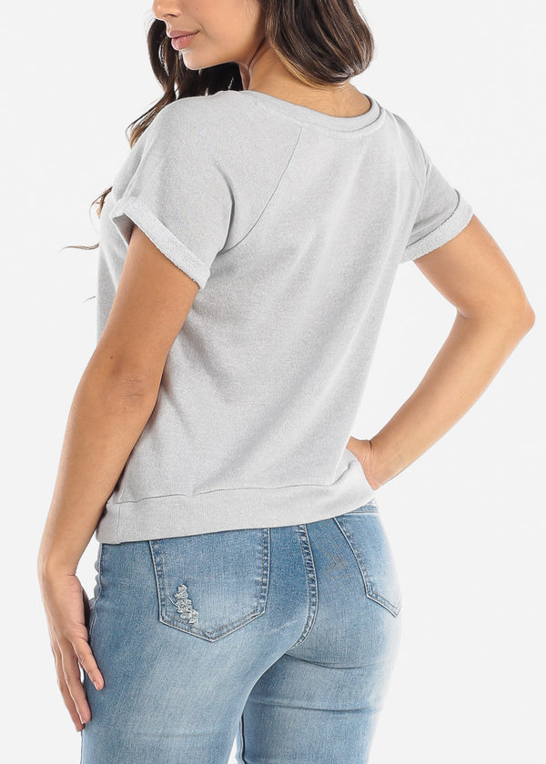 Grey Short Sleeve Top