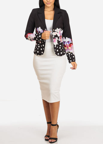 Black Floral w Pocket Blazer