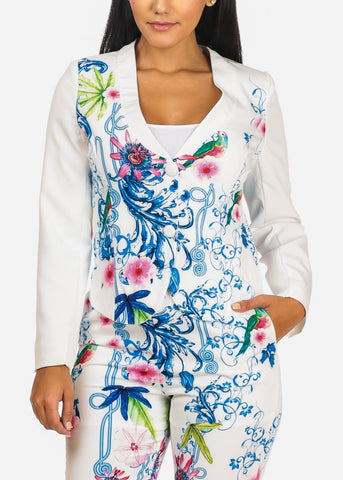 Image of Floral Print White Blazer W Pants (2PCE SET)