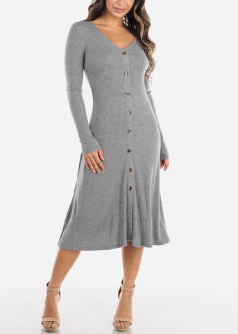 Image of Grey Button Down Sweater Dress