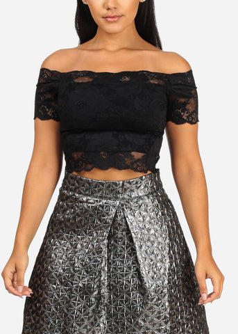 ONE SIZE Off Shoulder Short Sleeve Black Floral Lace Crop Top