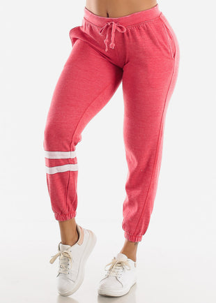 Mid Rise Red Fleece Jogger Sweatpants
