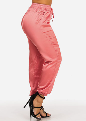 Image of High Rise Lightweight Pink Jogger Pants