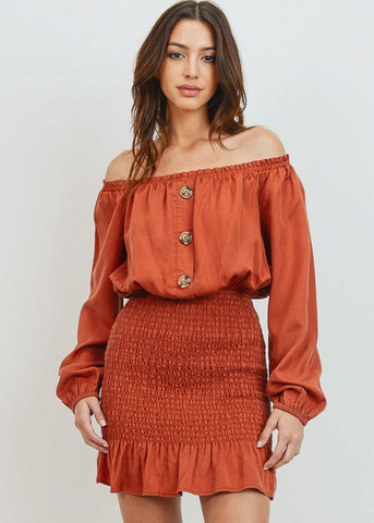 Image of Smocked Off Shoulder Rust Shirring Dress