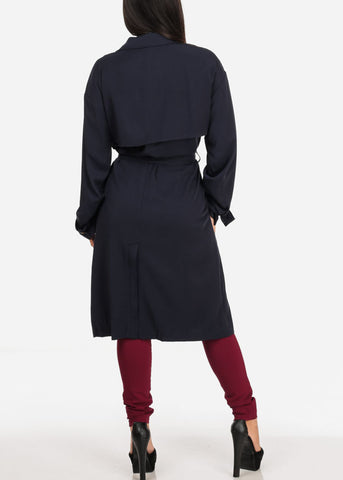 Image of Navy Trench Coat Jacket