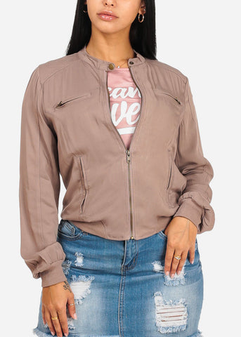 Trendy Zip Up Mocha Jacket