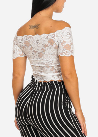 Image of White Floral Lace Crop Top