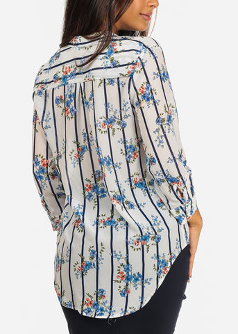 Image of White Stripe & Floral Print Blouse