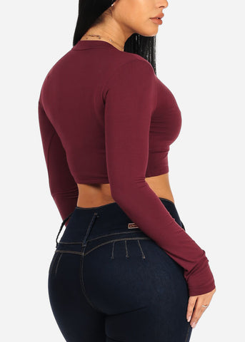 Image of Basic Burgundy Crop Top