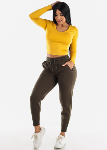 Mustard V-Neck Stretchy Crop Top