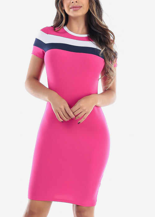 Cute Sexy Stylish Tight Fit Pink Stripe Bodycon Midi Dress For Women Ladies Junior