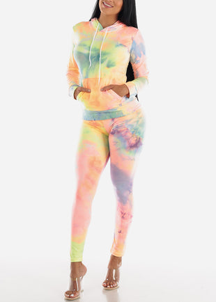 Multicolor Tie Dye Hoodie & Pants (2 PCE SET)