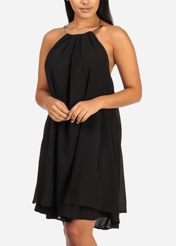 Sexy Halter Gold Necklace Solid Black Chiffon Dress