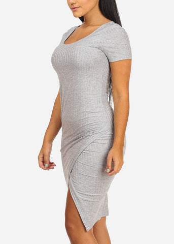 Image of Light Grey Side Slit Bodycon Midi Dress