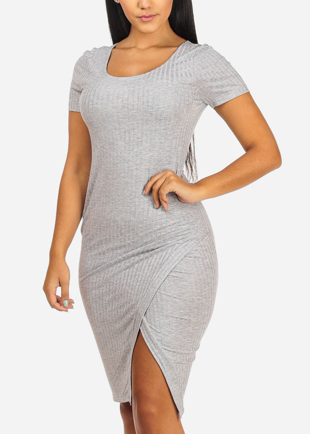 Light Grey Side Slit Bodycon Midi Dress