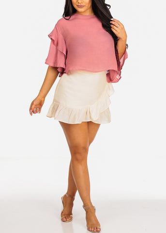 Ruffle Detail High Rise Light Weight Cream Mini Skirt