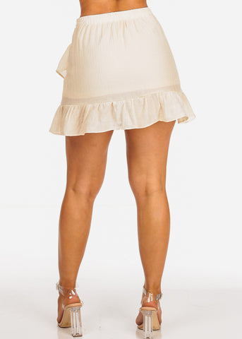 Cream Ruffle Mini Skirt