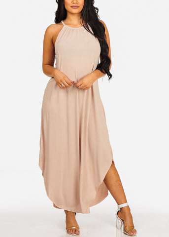 Image of Sexy Flowy Halter Beige Maxi Dress