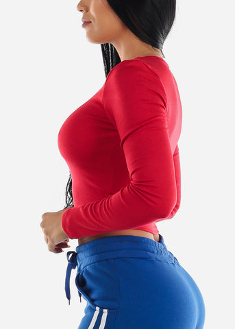 Image of Red V-Neck Stretchy Crop Top
