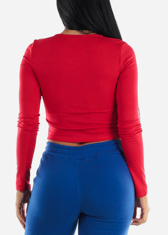Red V-Neck Stretchy Crop Top