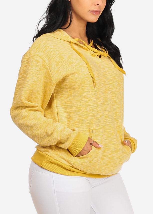 Lace Up Neckline Kangaroo Pocket Mustard Sweater with hood