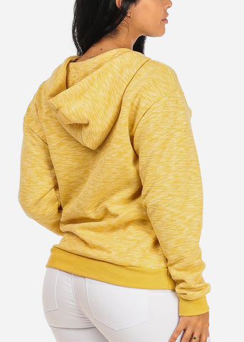 Cute Long Sleeve Lace Up Neckline Kangaroo Pocket Stretchy Mustard Sweater W Hood