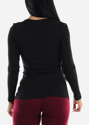 Scoop Neck Long Sleeve Basic Top