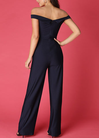 Elegant Off Shoulder Navy Jumpsuit